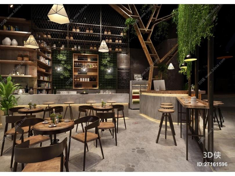现代工业风咖啡店3D模型