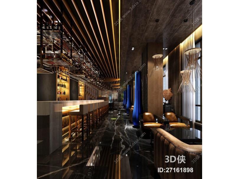 现代酒店酒吧餐厅空间3D模型下载