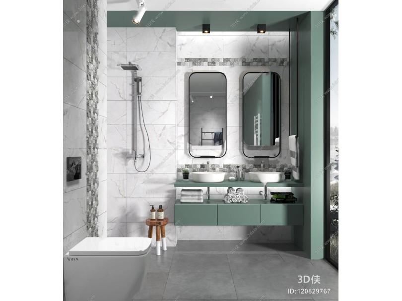 现代卫浴组合 现代卫浴用品 洗手台 淋浴 马桶 矮凳