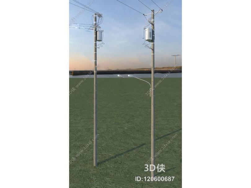 现代电线杆3D模型