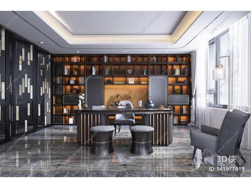 新中式书房 新中式书房 的互啄 单椅 凳子 装饰柜 摆件 落地灯