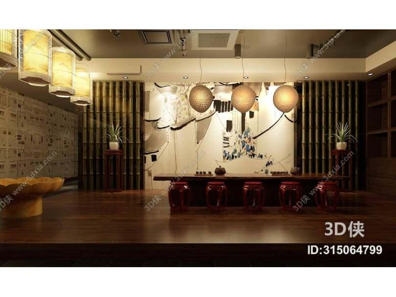 新中式茶室 新中式金属鸟笼吊灯组合 新中式藤编吊灯