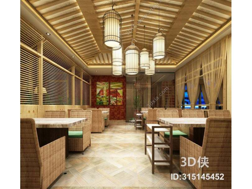 东南亚原木色中餐厅 东南亚白色铁艺吊灯 东南亚原木色编织餐桌椅组合