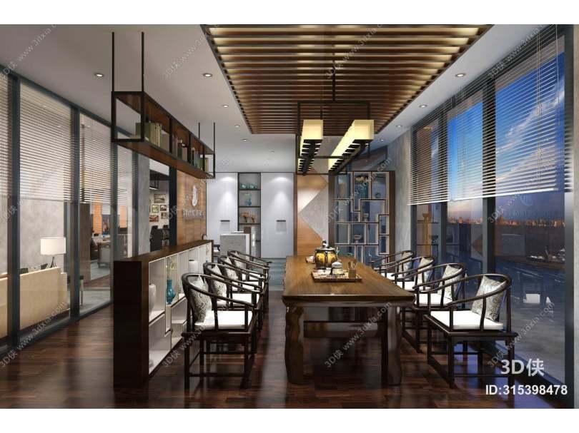 新中式中餐厅 新中式羊皮吊灯 新中式棕色木艺餐桌椅组合 棕色木艺置物架