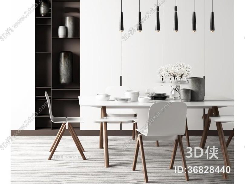 现代餐桌椅子吊灯组合3D模型