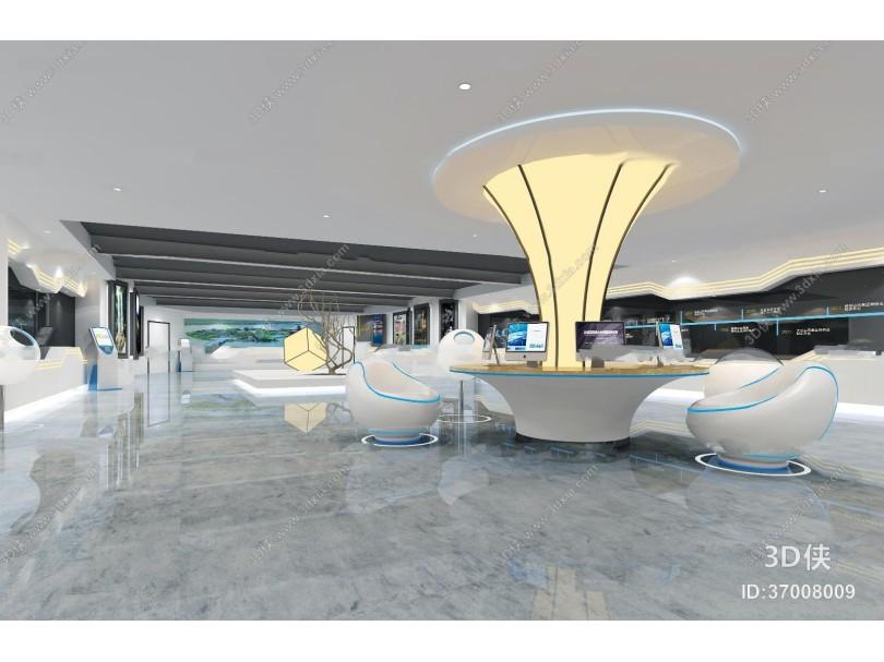 现代科技展厅大堂3D模型
