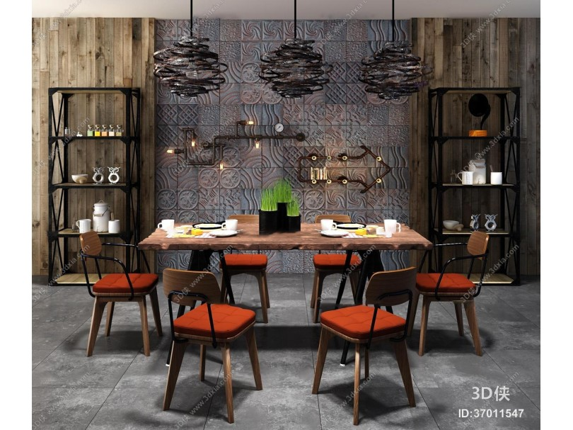 工业风餐桌椅装饰架组合3D模型