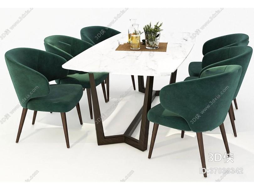 现代餐桌椅玻璃杯组合3D模型