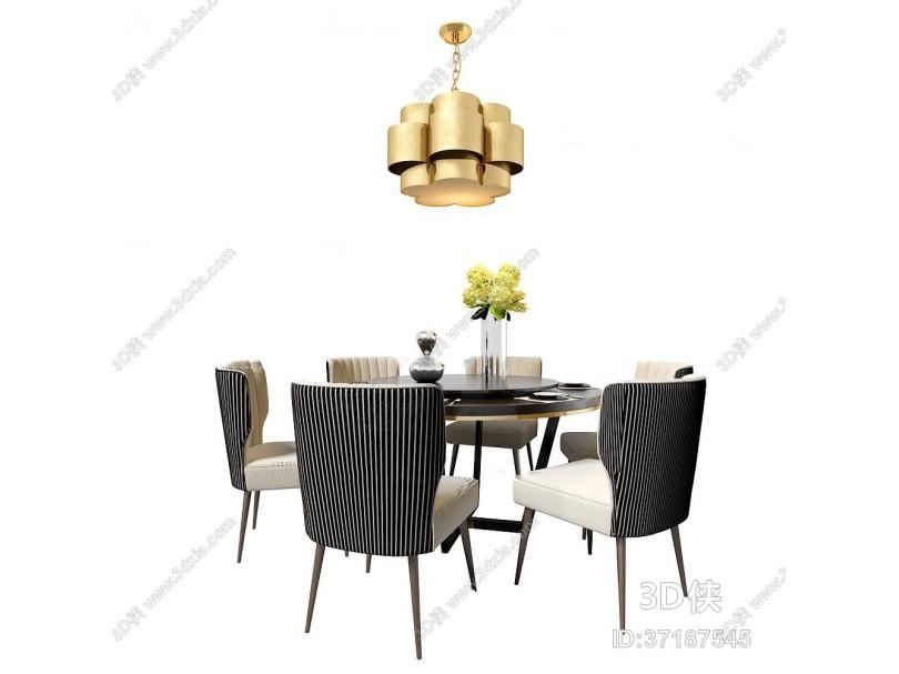 现代圆形餐桌椅吊灯组合3D模型