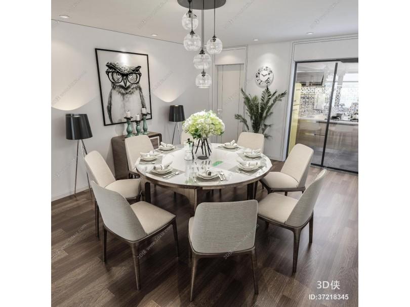 现代圆形餐桌椅3d模型