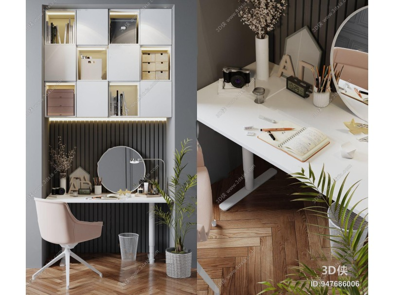 現代書桌椅書柜組合3d模型