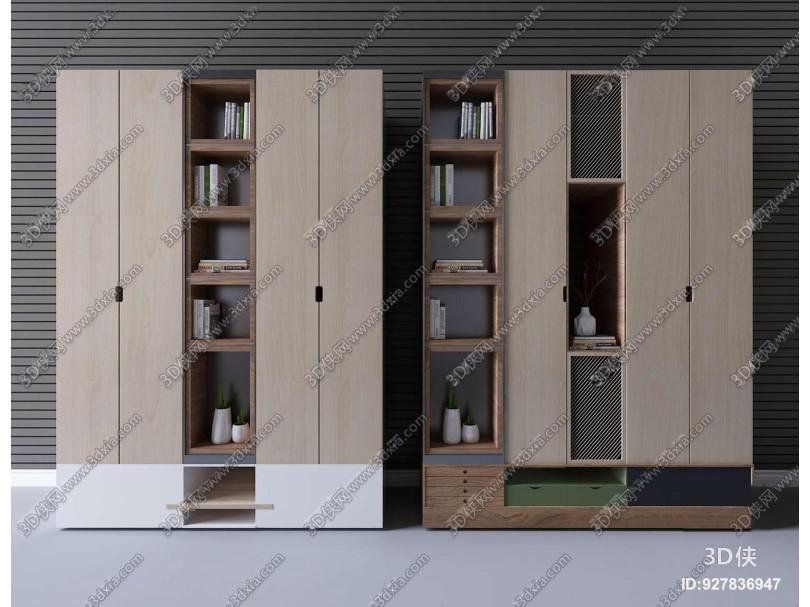 现代实木衣柜储物柜摆件3D模型