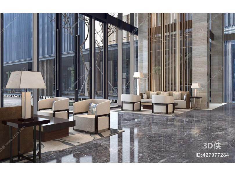 极简宋韵-现代新中式酒店洽谈区 新中式酒店大堂 洽谈区 多人沙发 单人沙发 台灯 落地灯 茶几 隔断