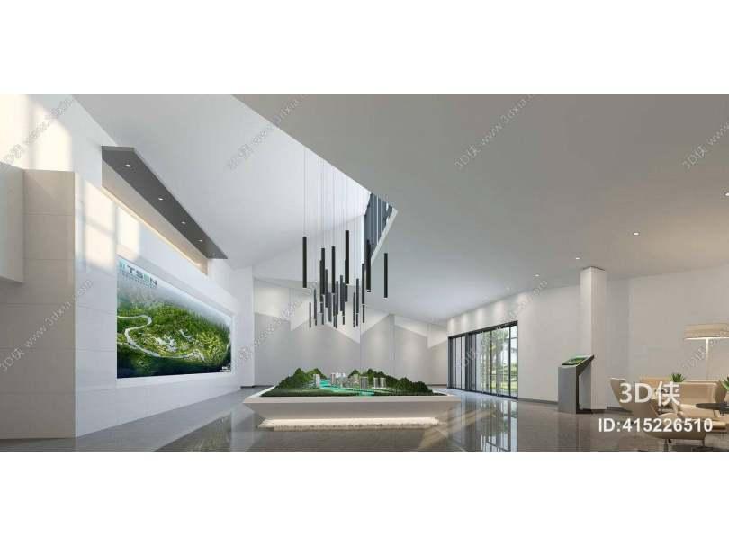 现代售楼处 现代黑色金属吊灯组合