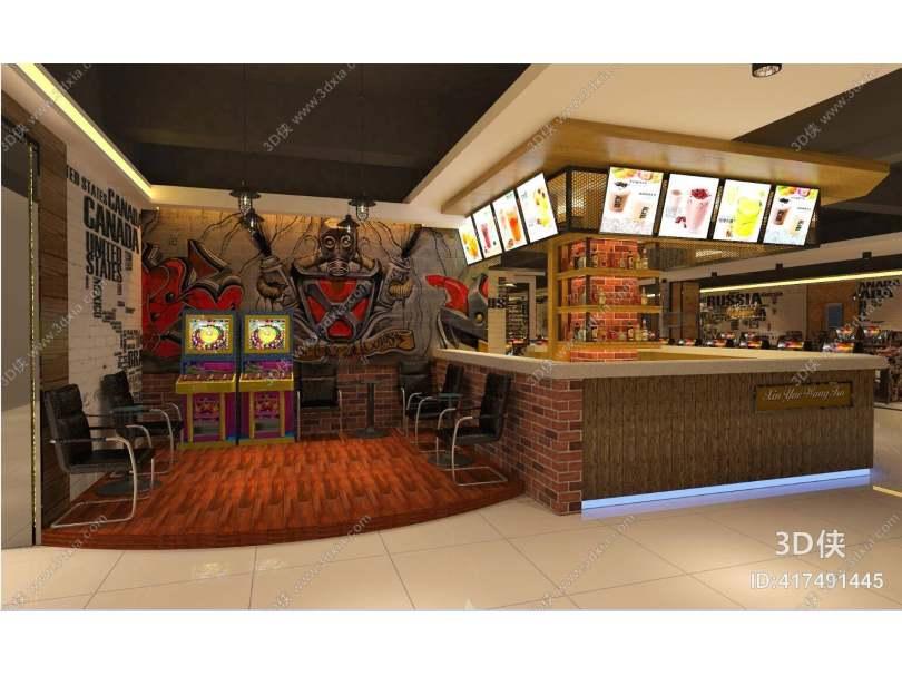 工业风酒吧 工业风原木色木艺前台桌 现代黑色布艺电脑椅 黄色街机