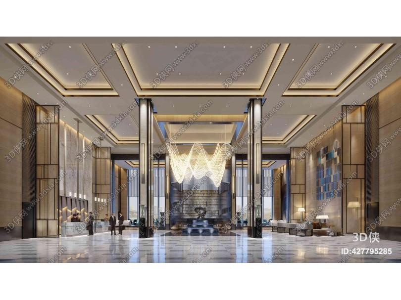 现代奢华酒店大堂前台3D模型