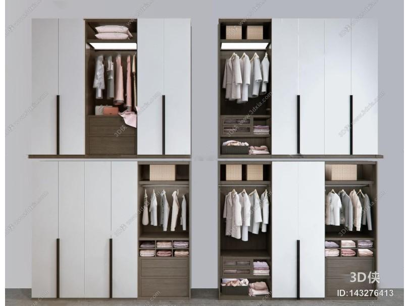 现代实木衣柜3d模型