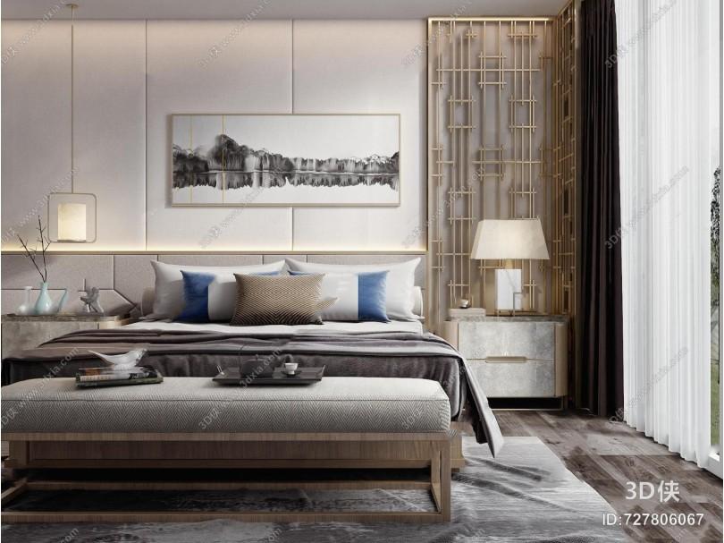 新中式双人床床头柜组合3D模型