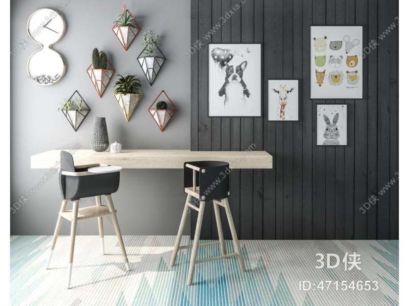 现代儿童餐桌椅装饰植物挂画组合3D模型