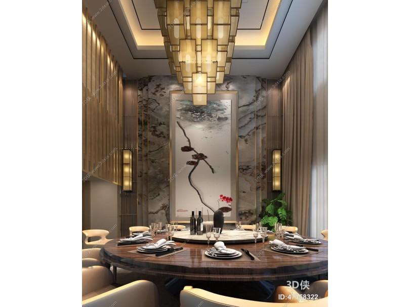 新中式大理石圆桌餐厅组合3D模型