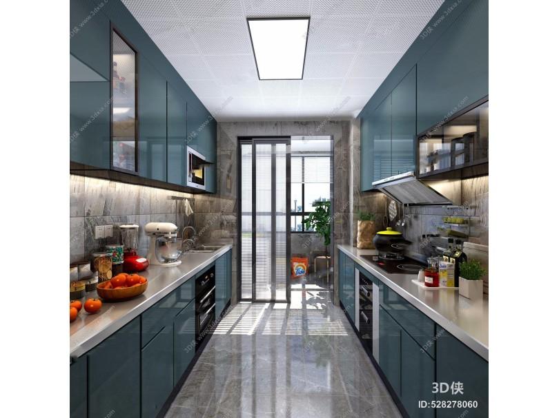 北欧厨房 北欧厨房 橱柜 吊柜 厨具 吸顶灯 锅 水果
