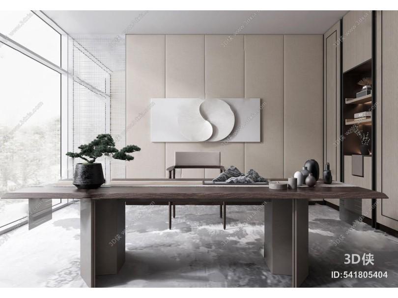 新中式书房 新中式书房 书桌椅 装饰柜 古松摆件 墙饰