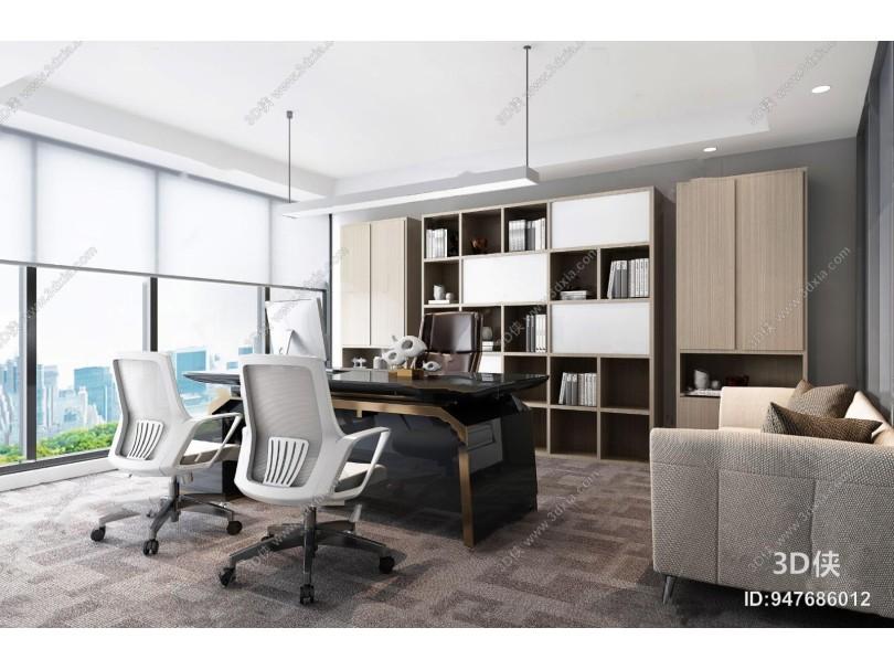 現代總經理辦公室3d模型