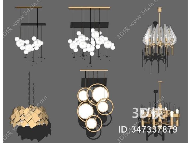 现代吊灯组合SU模型