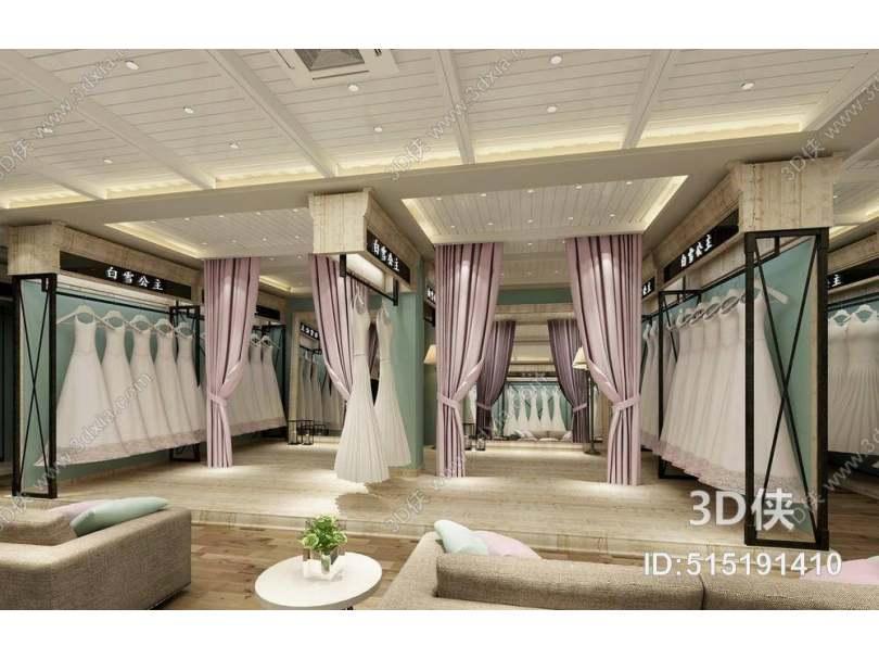 欧式简约服装专卖店 黑色长方形铁艺衣架 粉色布艺窗帘