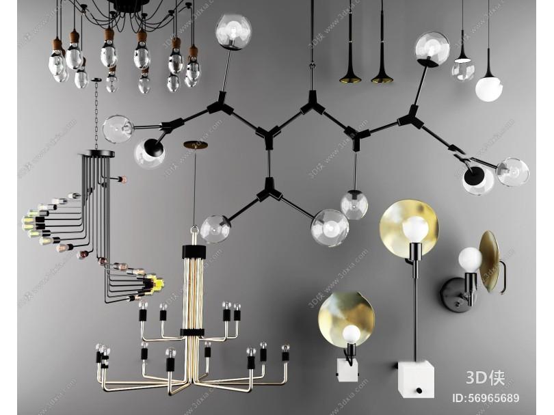 北欧玻璃吊灯壁灯组合3D模型