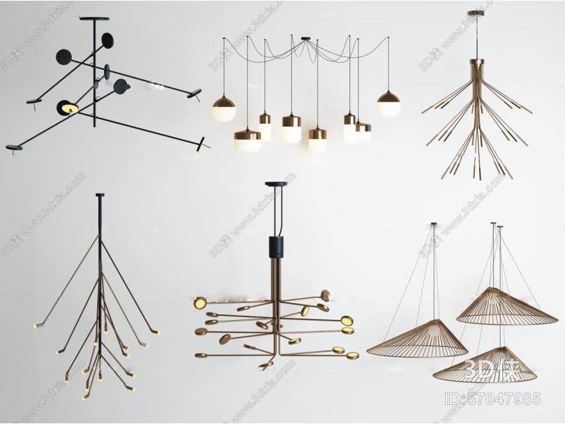北欧创意点线结合吊灯3D模型