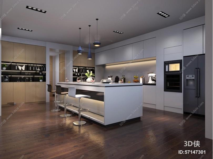 现代吧台橱柜组合3D模型