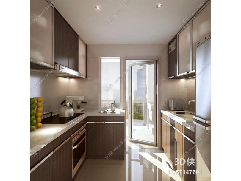 现代厨房厨柜3D模型