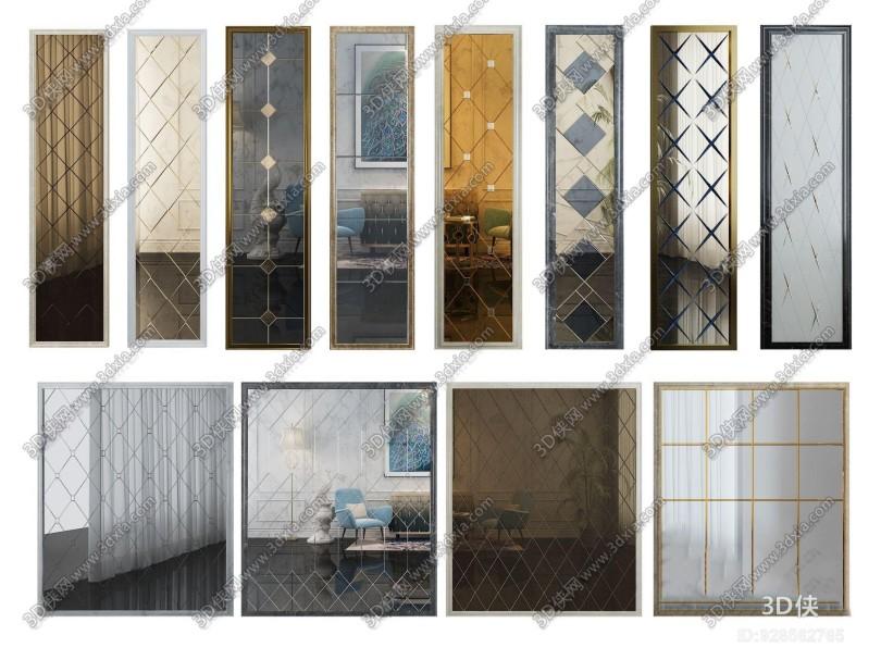 现代拼镜茶镜艺术玻璃墙组合3D模型