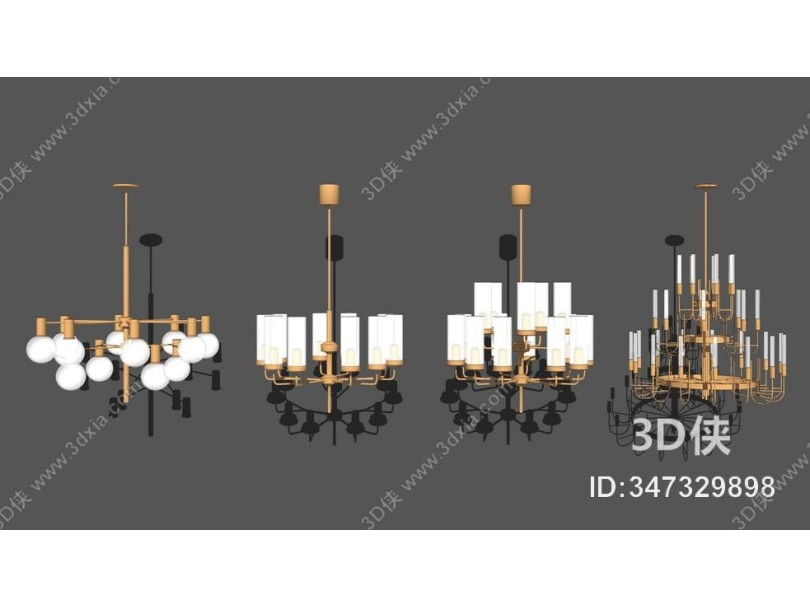 现代金属吊灯组合SU模型