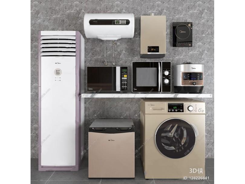 美的电器组合 现代家用电器 迷你冰箱 全自动洗衣机 立式空调 电压力锅 微波炉 热水器 电磁炉