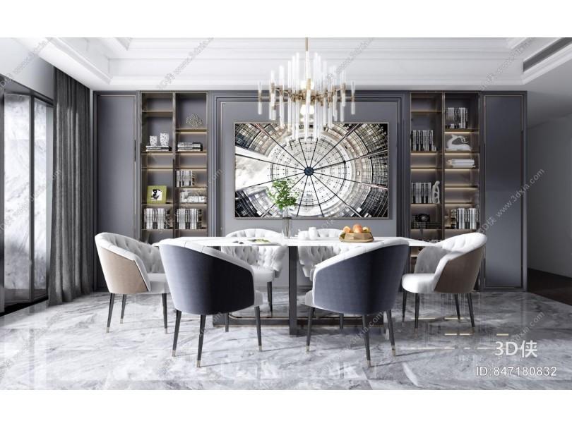 现代轻奢大理石餐桌椅3d模型