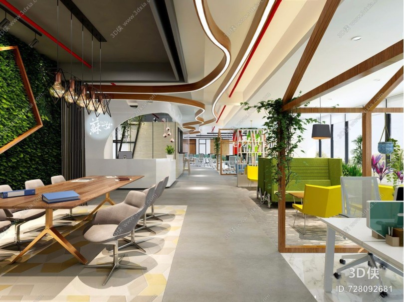 现代办公室空间 现代公共办公区 休息区 接待区 吊灯 会议桌 办公椅 单椅 现代单人沙发 茶几 植物墙 吊顶