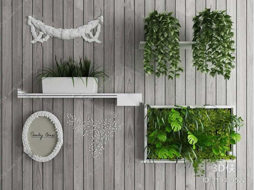 北欧盆栽3D模型下载