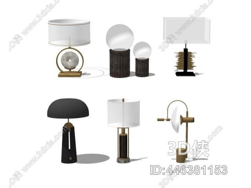 新中式台灯组合SU模型