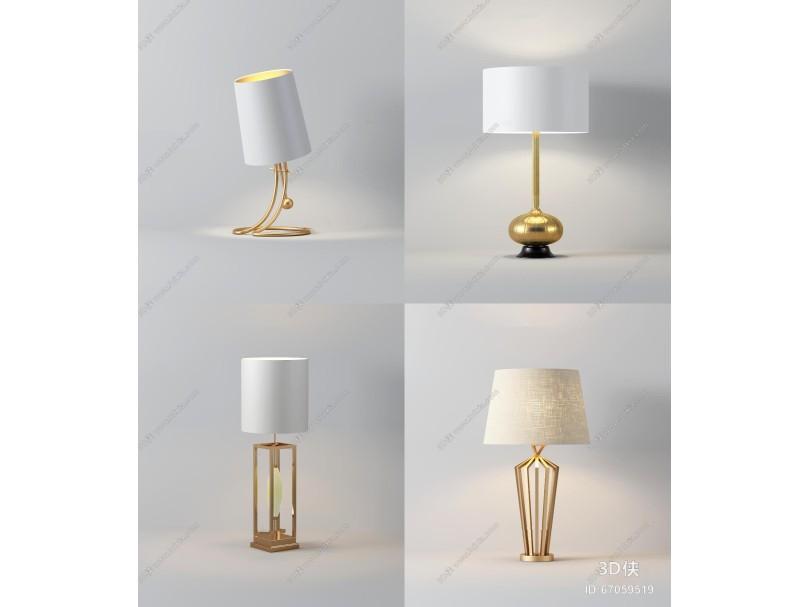 现代金属台灯组合3D模型