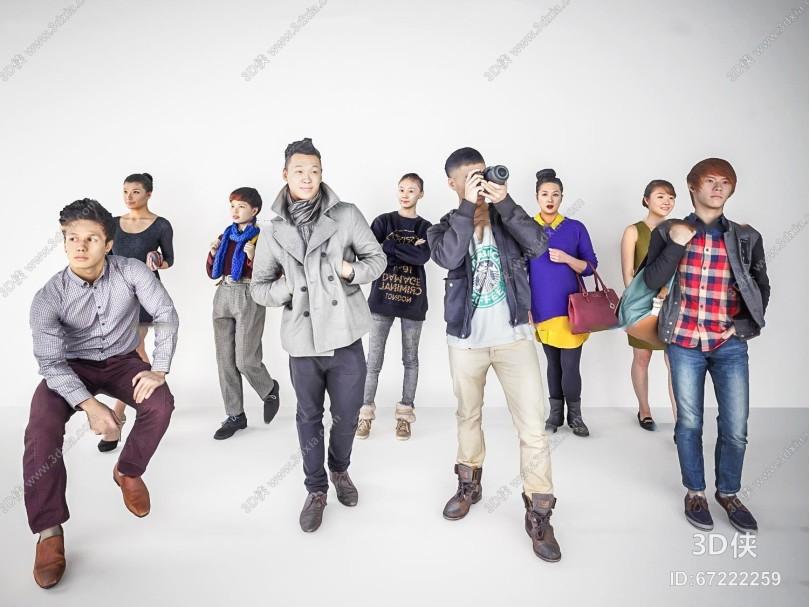现代男女人物组合3D模型