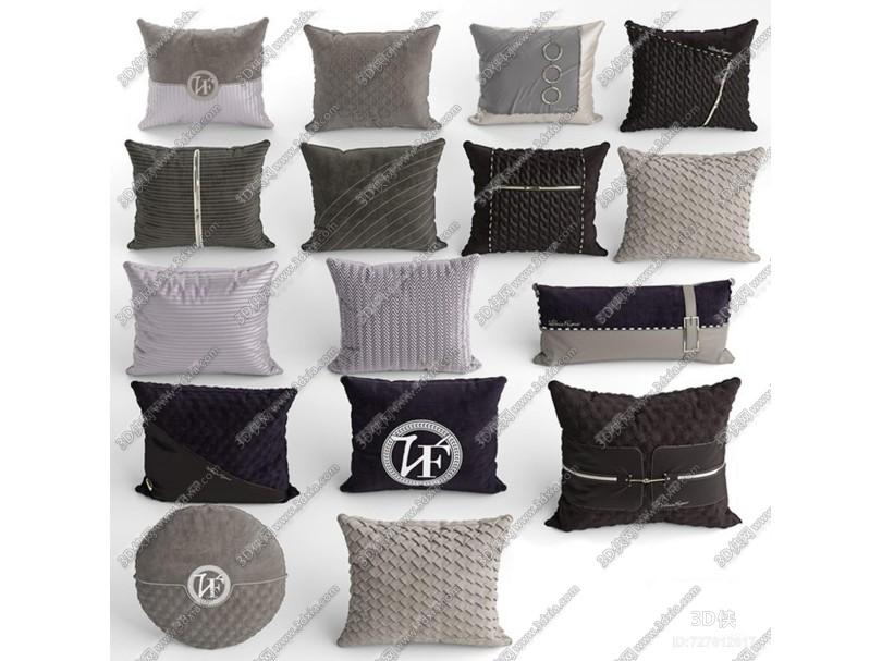现代布艺抱枕组合3D模型