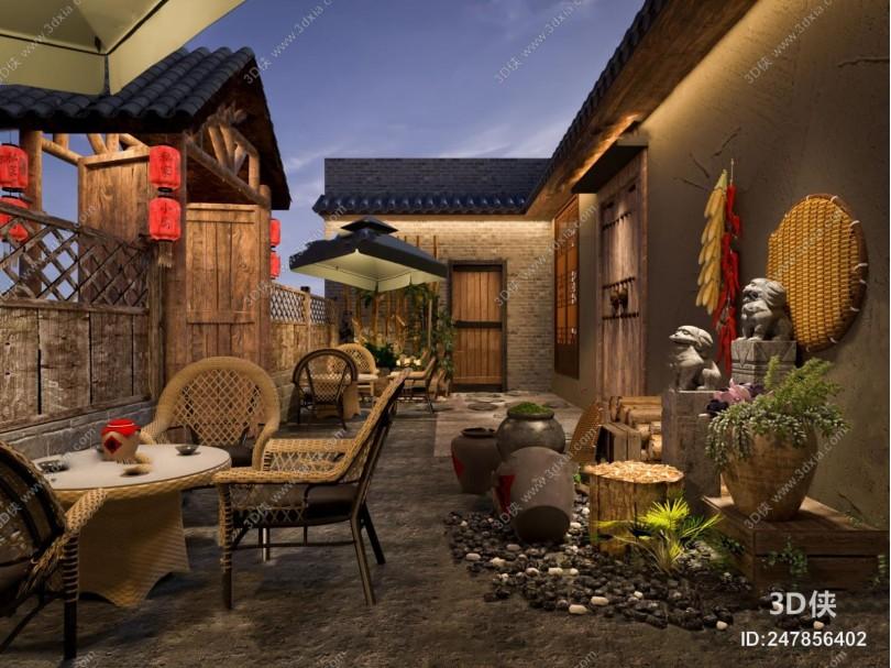 新中式民宿庭院3d模型
