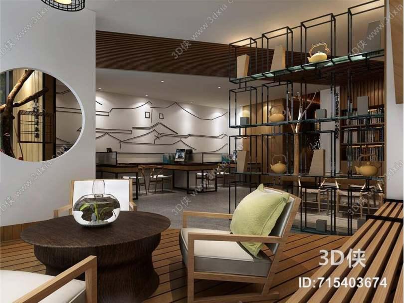 新中式办公室 新中式棕色木艺椅子茶几组合 新中式黑色金属隔断 新中式黄色木艺休闲桌椅组合