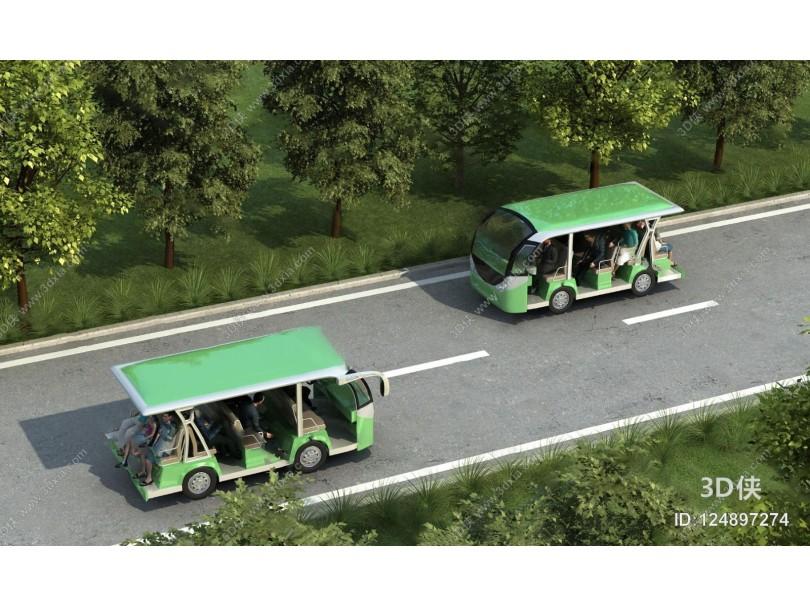 现代观光车3D模型