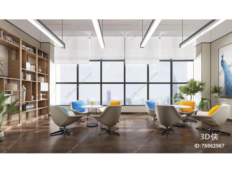 现代办公休息区洽谈室3D模型