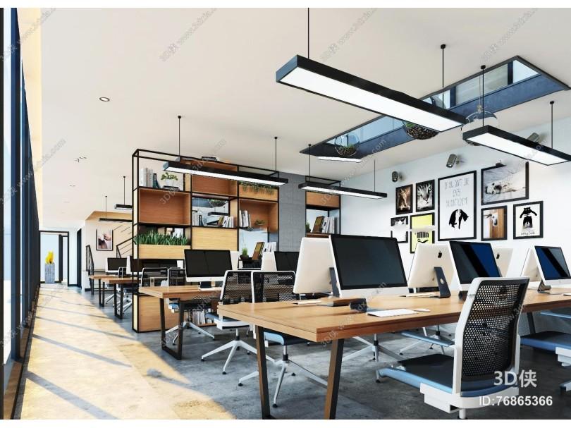 現代開放式辦公室3D模型