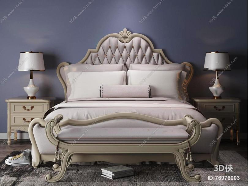 欧式双人床床头柜台灯组合3D模型