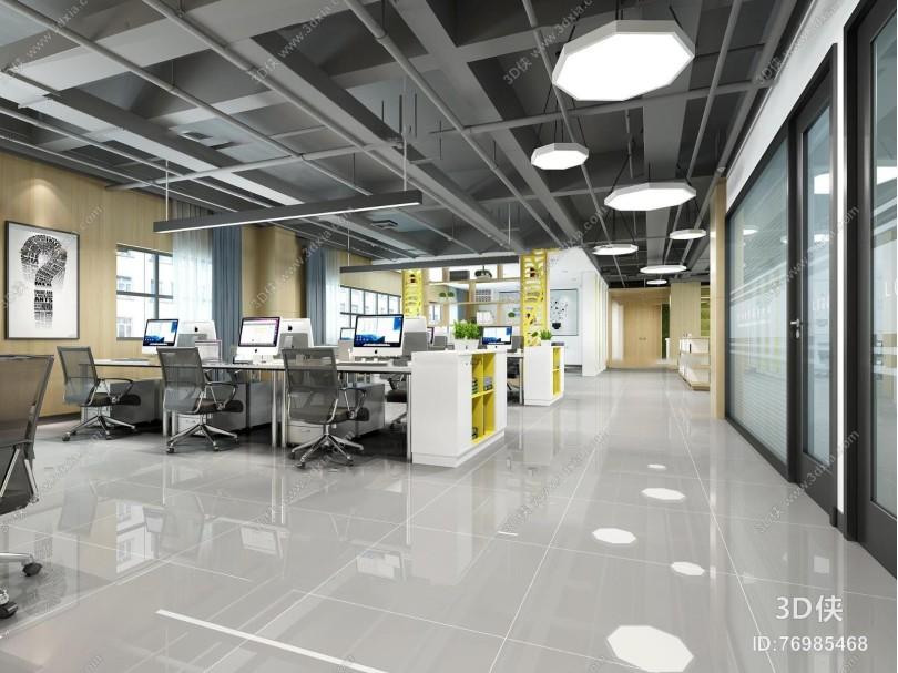 现代敞开式办公室前台休闲区3D模型